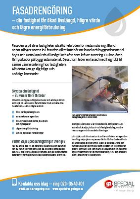 Produktblad Fasadrengöring Specialrengöringar Sverige.