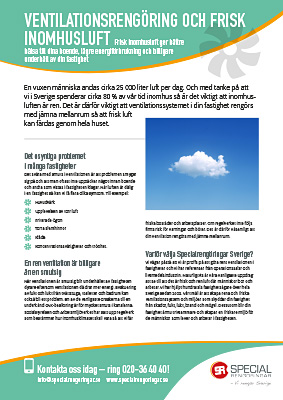 Produktblad Ventilationsrengöring Specialrengöringar Sverige.