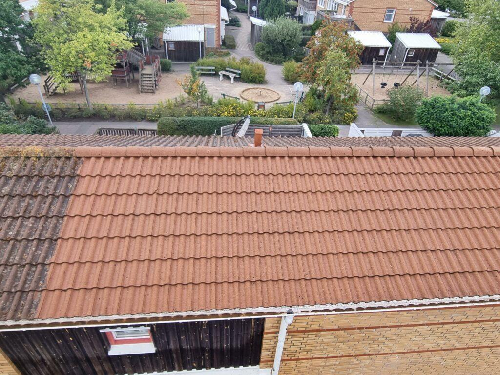 Bild halvvägs vid taktvättning i Lomma